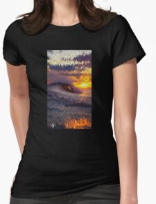 Cubic Sunset Wave Womens Fitted T-Shirt