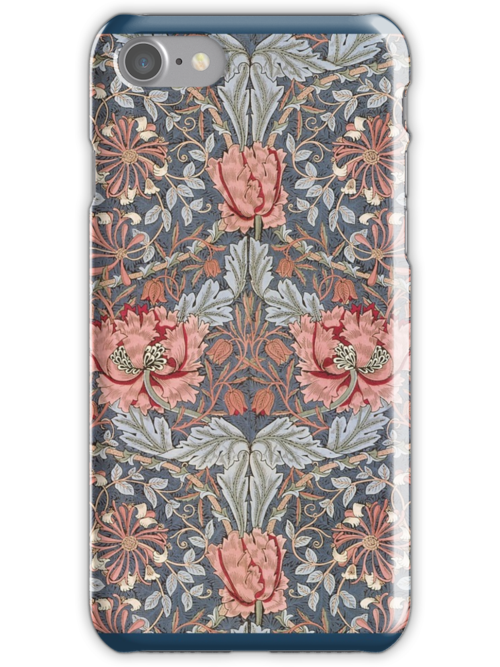 William Morris Floral Pattern in Red and Blue by cinn