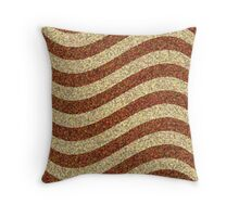 Curving Brown Grainy Pattern Throw Pillow