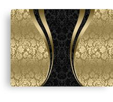 Black And Gold Damasks And Stripes Canvas Print