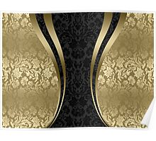 Black And Gold Damasks And Stripes Poster