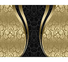 Black And Gold Damasks And geometric Stripes Photographic Print