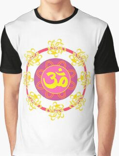 Om in Pink and Yellow Wheel Graphic T-Shirt
