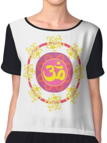 Om in Pink and Yellow Wheel Chiffon Top