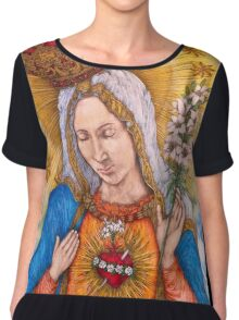 Immaculate Heart Of Virgin Mary Drawing Chiffon Top