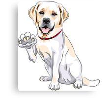Labrador Retriever smiles and gives a paw Canvas Print
