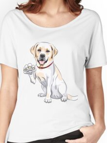 Labrador Retriever smiles and gives a paw Women's Relaxed Fit T-Shirt