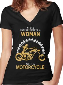 Woman With A Motorcycle Women's Fitted V-Neck T-Shirt