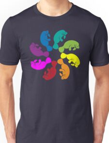 Color: Manatee Rainbow Pinwheel  Unisex T-Shirt