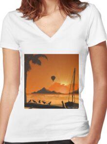 Tahiti Island Balloon Rides Women's Fitted V-Neck T-Shirt