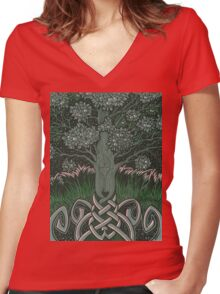 Tree of cognizance - acrylic on board Women's Fitted V-Neck T-Shirt