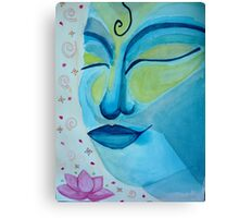 Buddha face and lotus flower Canvas Print