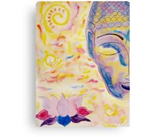 Half buddha face and lotus flower Canvas Print