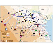 Operation Desert Storm Ground Map (Feb 24-28 1991) Photographic Print