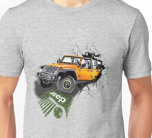 3D Jeep Rubicon Wracked Wall Art Unisex T-Shirt