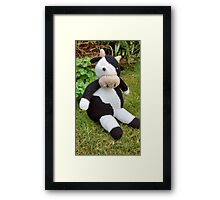 Hand Knitted Cow Framed Print