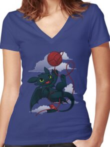 Dragons just wanna get fun - day version Women's Fitted V-Neck T-Shirt