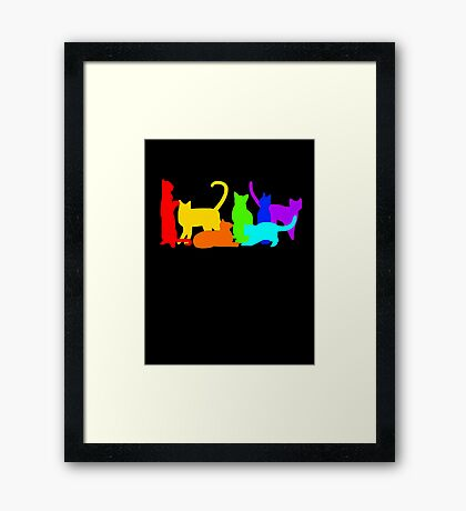 Rainbow Cats Framed Print