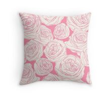 Pattern with pink roses Throw Pillow