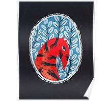 Smug red horse portrait Poster