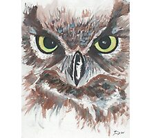 Owl Face in Watercolor Photographic Print