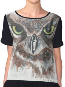 Owl Face in Watercolor Chiffon Top