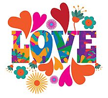 Sixties style mod pop art psychedelic colorful Love text design. Photographic Print