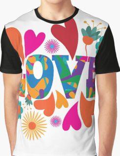 Sixties style mod pop art psychedelic colorful Love text design. Graphic T-Shirt