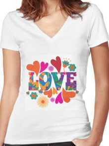 Sixties style mod pop art psychedelic colorful Love text design. Women's Fitted V-Neck T-Shirt