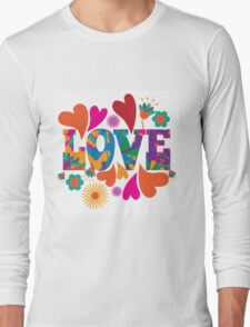 Sixties style mod pop art psychedelic colorful Love text design. Long Sleeve T-Shirt
