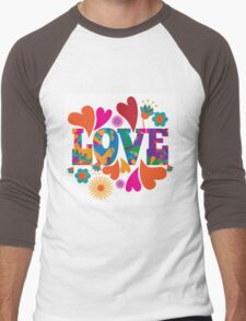 Sixties style mod pop art psychedelic colorful Love text design. Men's Baseball ¾ T-Shirt