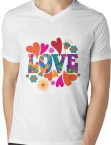 Sixties style mod pop art psychedelic colorful Love text design. Mens V-Neck T-Shirt