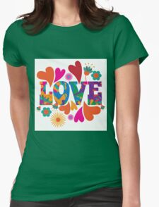 Sixties style mod pop art psychedelic colorful Love text design. Womens Fitted T-Shirt