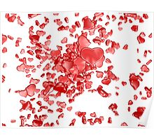 Red hearts on white background Poster