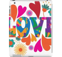Sixties style mod pop art psychedelic colorful Love text design. iPad Case/Skin