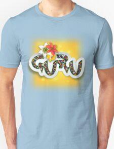 Guru Spiritual Floral Text Design Unisex T-Shirt