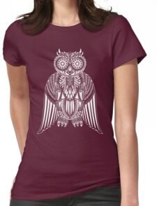 Hand-Drawn Owl illustration with abstract pattern Womens Fitted T-Shirt