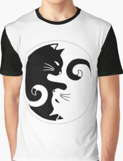Yin & Yang Cat Graphic T-Shirt