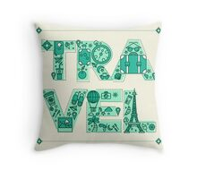 Time to Travel. Retro Lettering with Outline Style Travelling Elements Throw Pillow