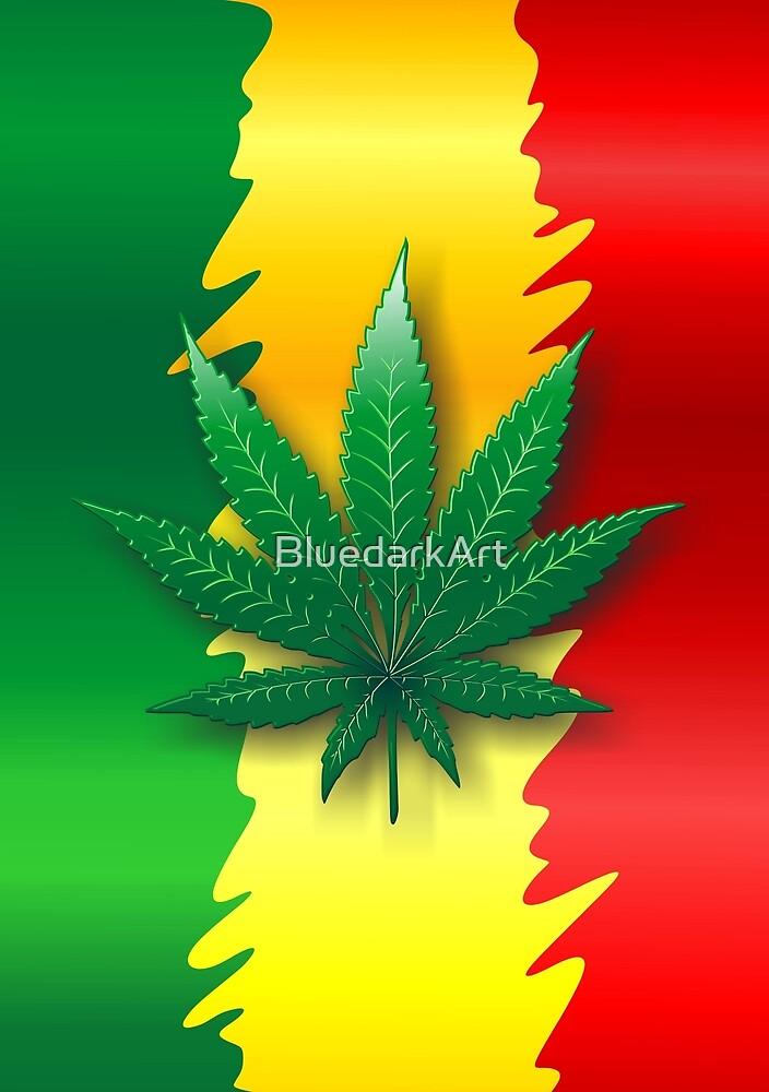 Cannabis Leaf on Rasta Flag  by BluedarkArt