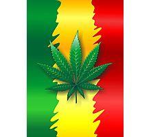 Cannabis Leaf on Rasta Flag  Photographic Print