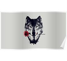 Wolf and Rose Poster