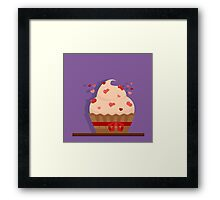 Happy Valentine's Day Greeting Cards. Air Baloon, Present with Love, Cupcake and Whale. Illustration in flat style Framed Print