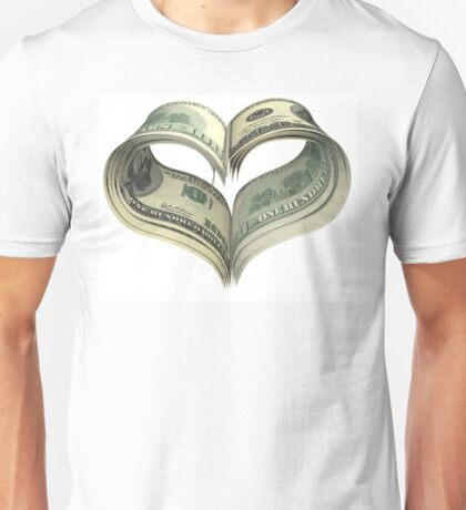 Valentine heart shape made by dollars Unisex T-Shirt