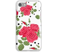 Seamless flowers of red roses pattern with black dots, circles on white background iPhone Case/Skin
