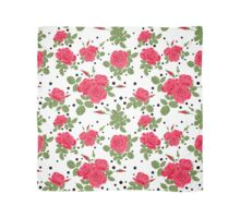 Seamless flowers of red roses pattern with black dots, circles on white background Scarf