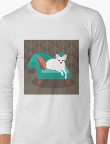 Flat design white Chihuahua on her chaise longue Long Sleeve T-Shirt