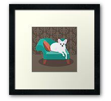 Flat design white Chihuahua on her chaise longue Framed Print