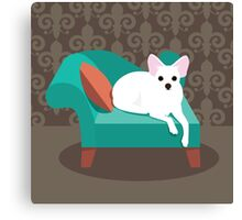 Flat design white Chihuahua on her chaise longue Canvas Print