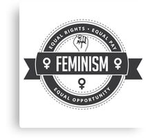 Raised fist icon badge of feminism in chic gray Canvas Print